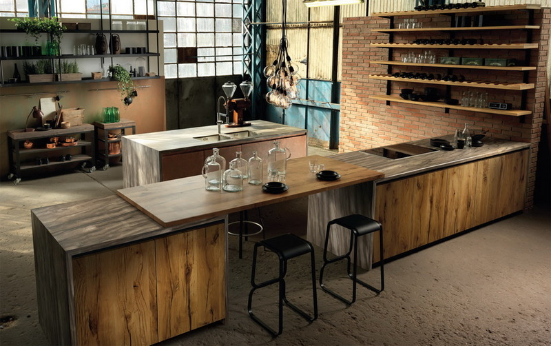 Metal, Wood, Stone, Color in Modern Kitchen Design Factory ...